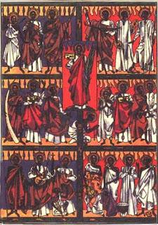 Carlos Lwanga (al centro) y sus 21 compañeros mártires, de Albert Wider, 1962.