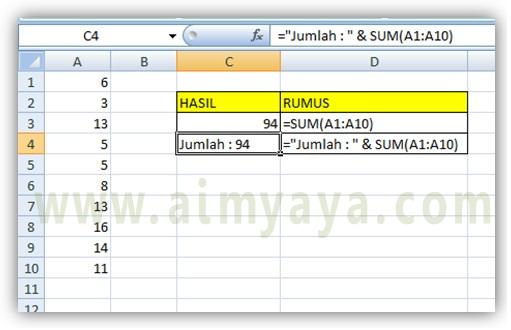 Gambar: contoh menambahkan string  pada hasil perhitungan di Microsoft Excel