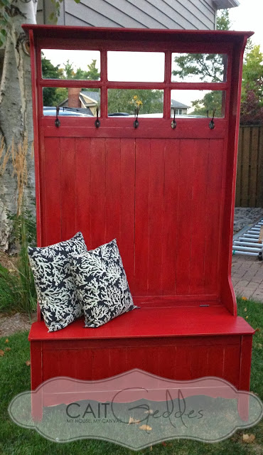 Hall Tree With Red Chalk Finish Paint