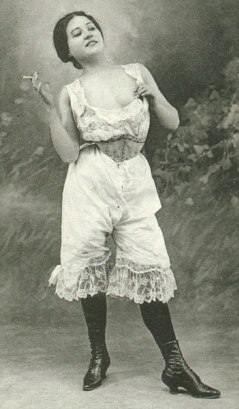 Woman smoking, Knickers, Victorian, Vintage, Edwardian,