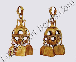 Six bell-shaped pendants dangle from the lower half of each of these earrings. The bells make a pleasant tinkling sound when worn.