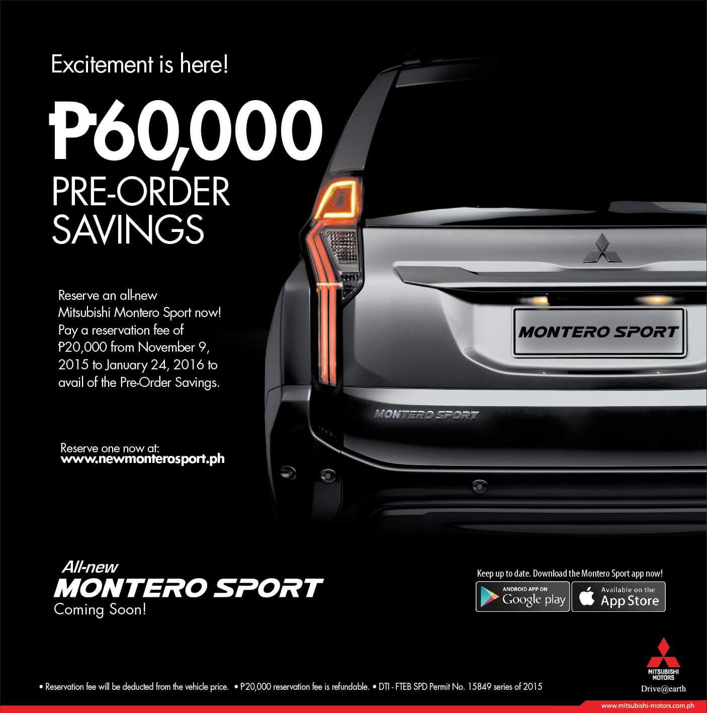 Mitsubishi philippines made the announcement on its facebook page saying that a reservation fee of p20 000 for the next generation suv will be accepted