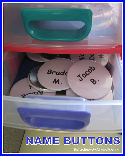photo of: Name Buttons Stored in Drawers (Organizational RoundUP via RainbowsWIthinReach)