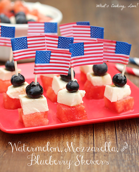 Watermelon, Mozzarella, and Blueberry Skewers