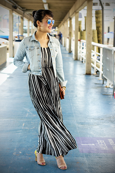 Loft striped maxi dress with H&M light wash cropped denim jacket