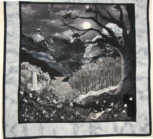 This is my quilt winter migration it was made for the challenge my world in black and white