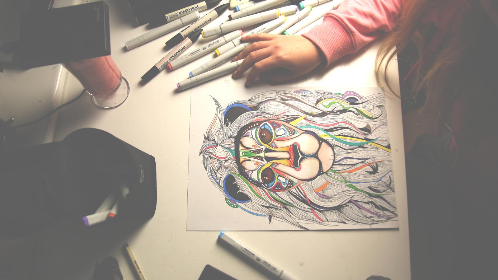 drawing lion, draw, rysunek, lew