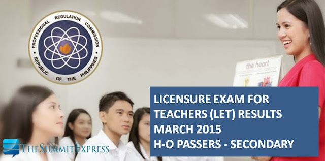 LET Results March 2015 Secondary Alphabetical List H-O Passers