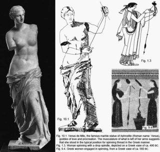 「ミロのビーナス」に手を加えると<br>「糸紡ぎの乙女」像が復元される。