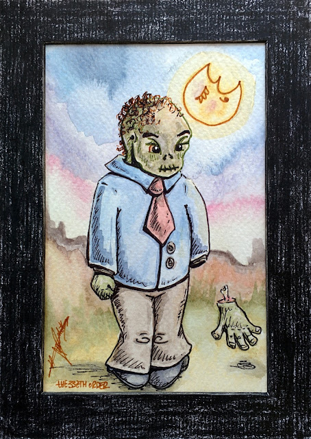 Halloween small art: My hand falls! (zombie) by Elizabeth Casua, tHE 33ZTH oRDER watercolour + ink