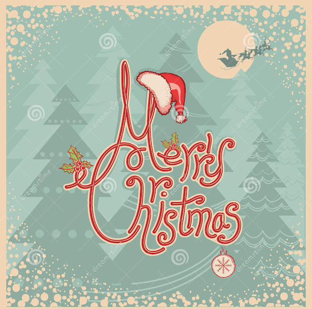 Retro merry christmas card text vintage greet greeting illustration old paper