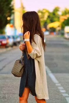 Over sized Cardigan With Plain Black Dress
