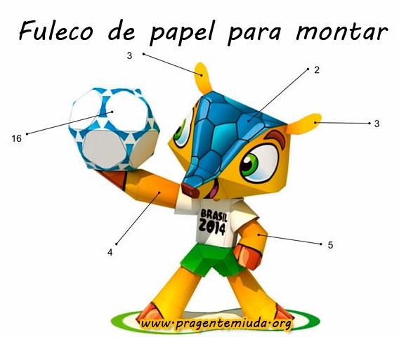 Mascote Fuleco de papel para montar