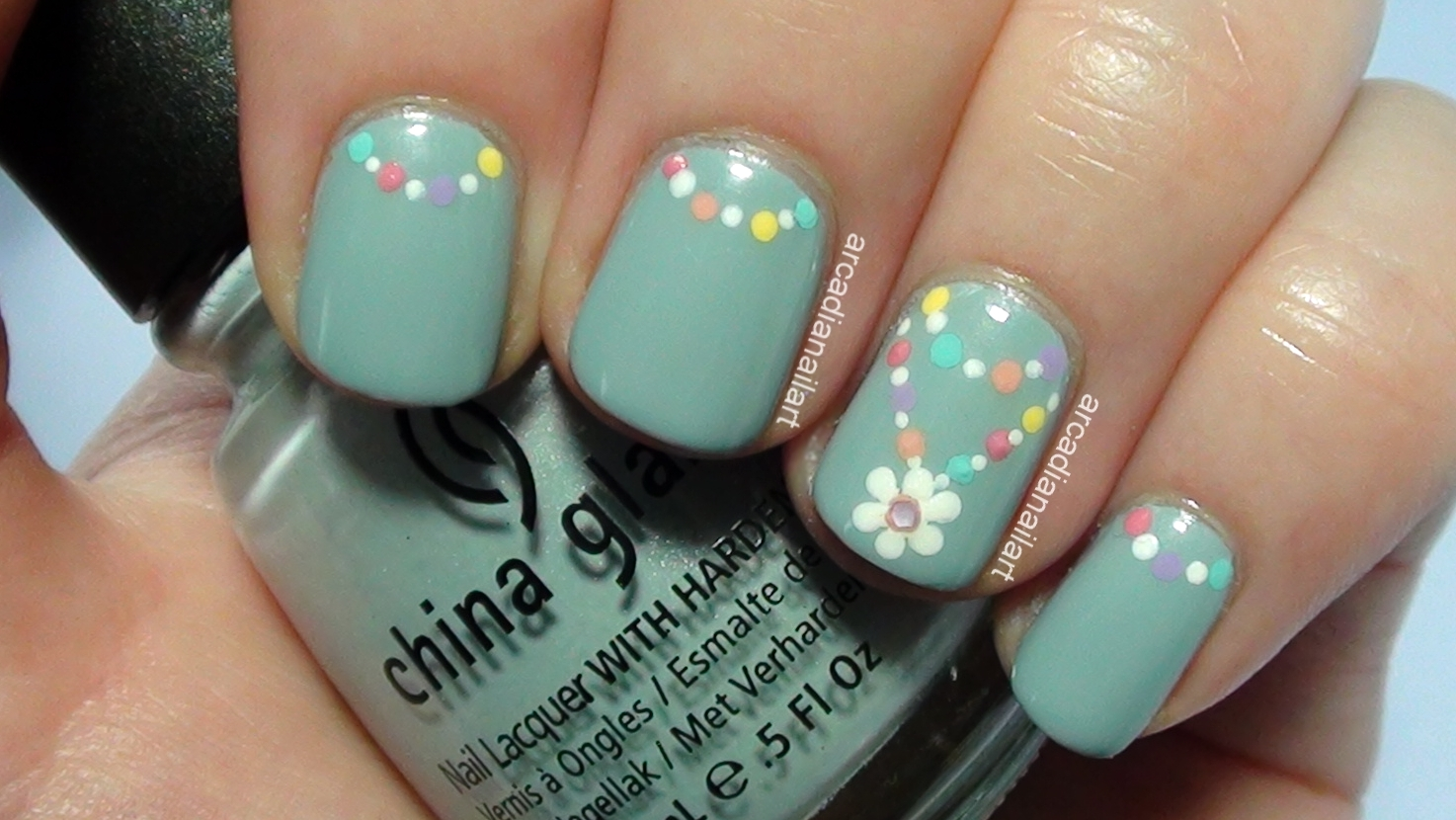 Easy Flower Chain Nail Art - ArcadiaNailArt: Simple Flower Chain Nail Art