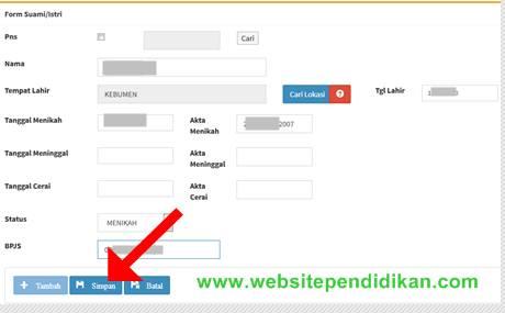 Form pengisian Data suami atau istri PNS di ePUPNS