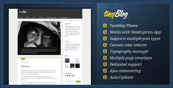 tinyBlog - Tumblog Wordpress Theme Free Download by ThemeForest.