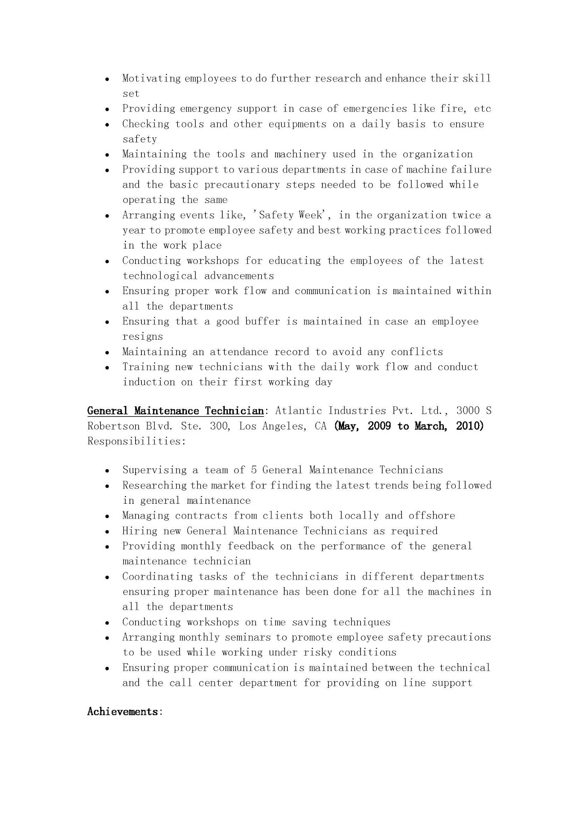 resume sles general maintenance technician resume