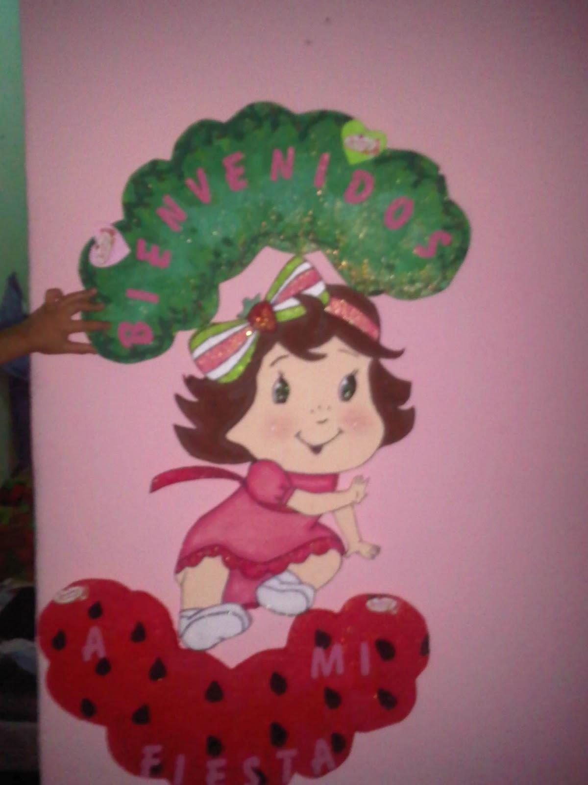 Decoración de Fiesta de rosita Fresita - Tarta de Fresa