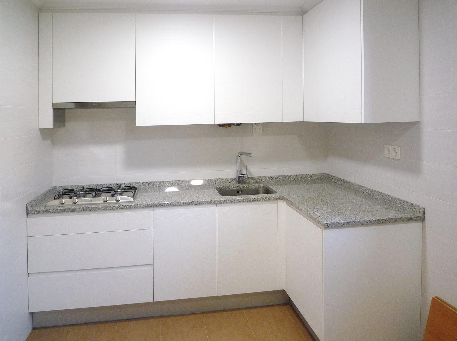 Cocina blanca sin tirador - Tiradores y pomos para muebles ...