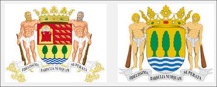 Comparación del escudo de Guipúzcoa, antes y después del borrado de la historia que llevan a cabo los nietos del transtornado Arana