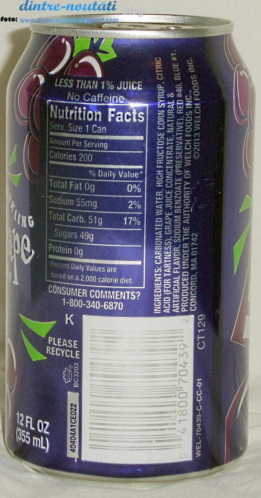 Băutură răcoritoare carbogazoasă cu aromă de struguri