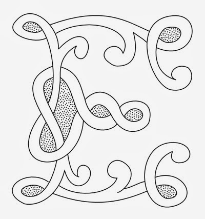 E Celtic calligraphy monogram tattoo stencil