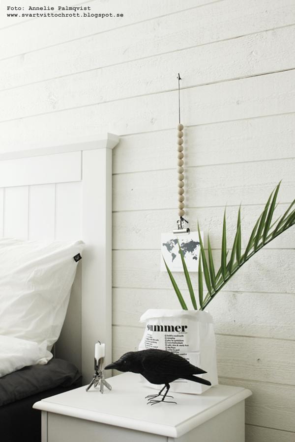 sänggavel, sovrum inspiration, sovrummet, kvist av en palm, korp, korpar, svart fågel, sängbord, liggande panel, tempursäng, tempur, säng, sängar, inredning, sängbord, papperspåse, papperspåsar i inredningen, inredningsblogg, blogg, bloggar, webbutik, webbutiker, webshop