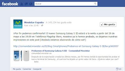 Samsung Galaxy S3 disponible el 29 de Mayo en Movistar