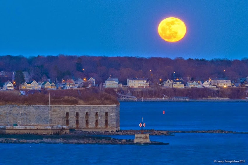Portland, Maine April 2015 Full Moon beyond Peaks Island and Fort Gorges by Corey Templeton