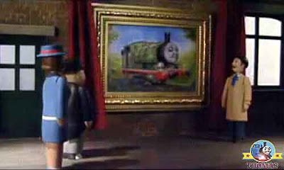 Lord mayor pulled a red curtain cord to display oil picture Thomas and Percy the tank engine gasped