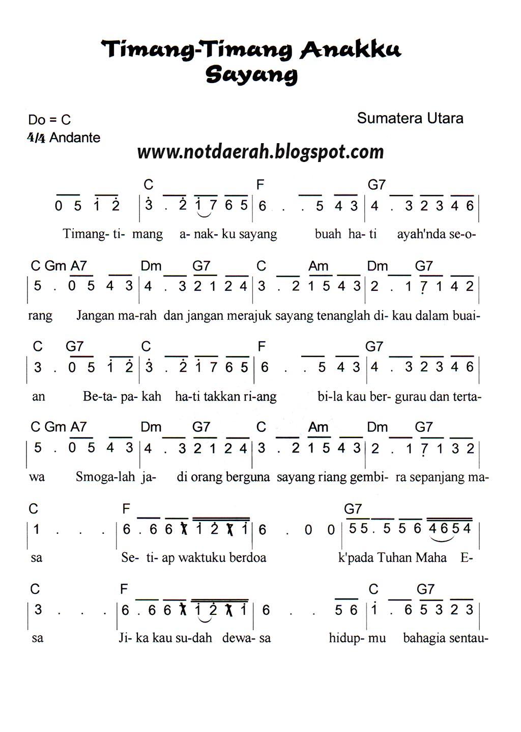 not angka timang timang anakku sayang   not angka lagu