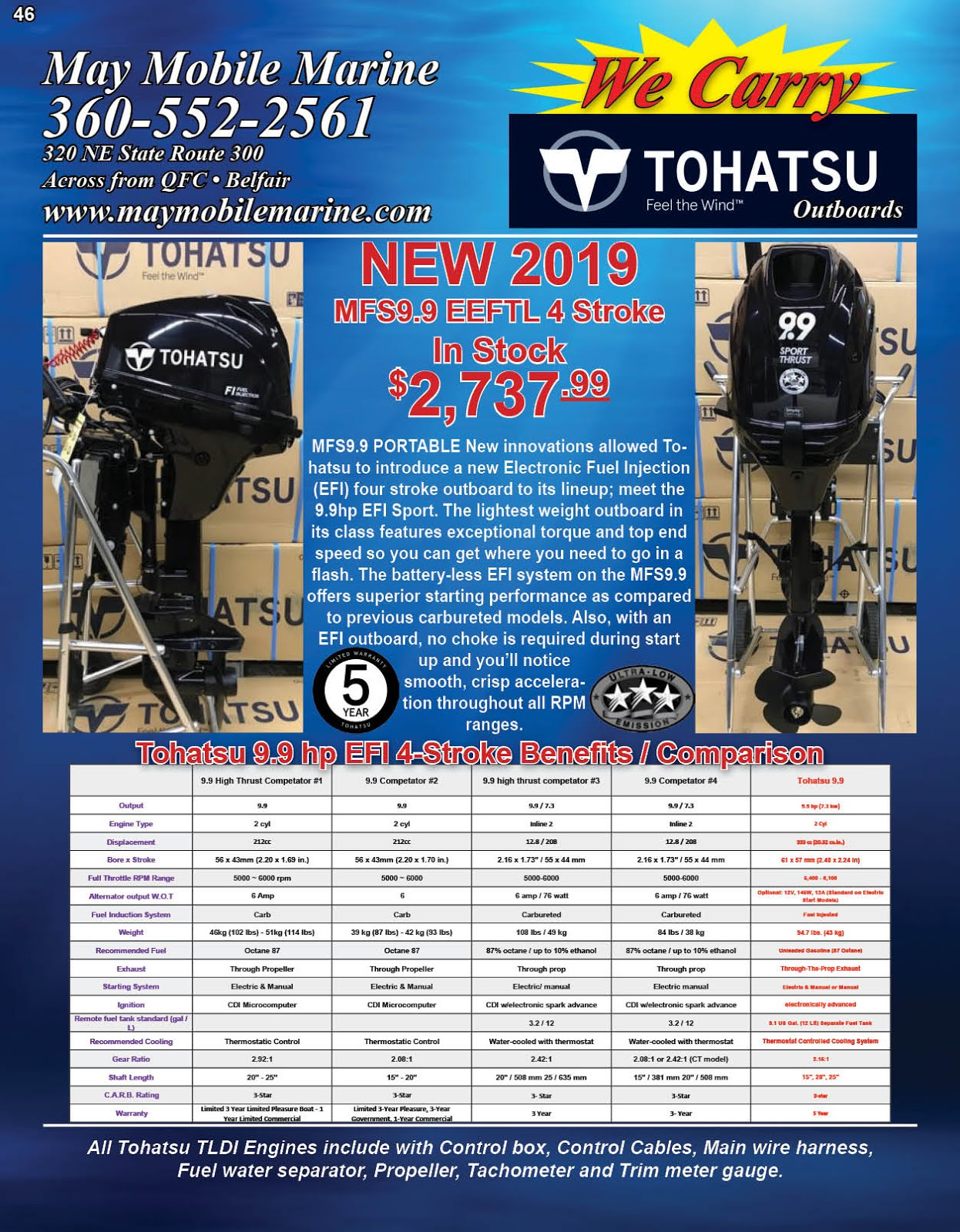May Mobile Marine Tohatsu Outboard Motor Sale!!