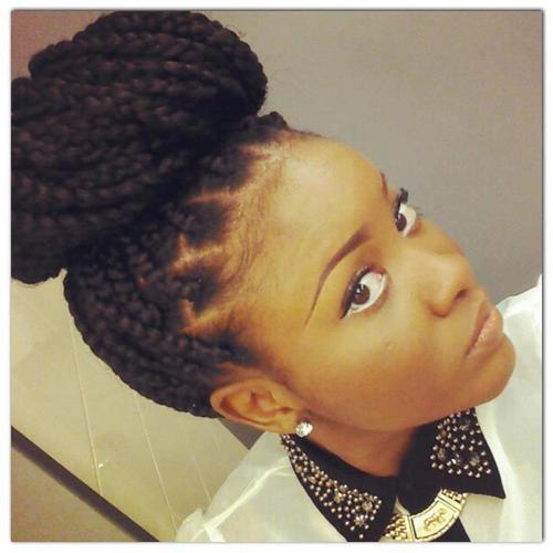 Box braids bun with bandana