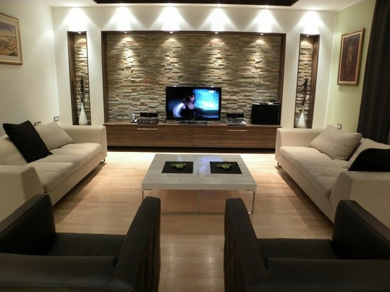 Salas con paredes de piedra ideas para decorar dise ar for Paredes decoradas modernas