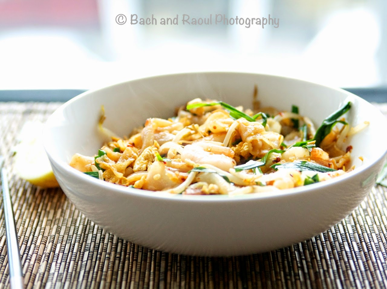 Char Kway Teow - Malayasian Stir Fried Rice Noodles with Shrimp and Garlic Chives
