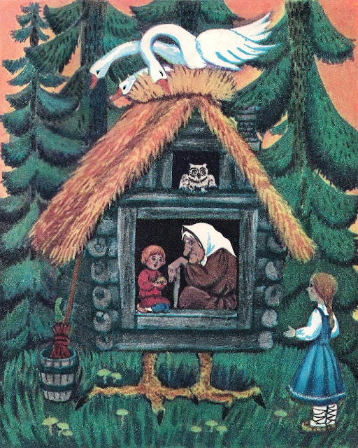 coloring book, fairy tale, book for children, Baba Yaga, hut on chicken legs