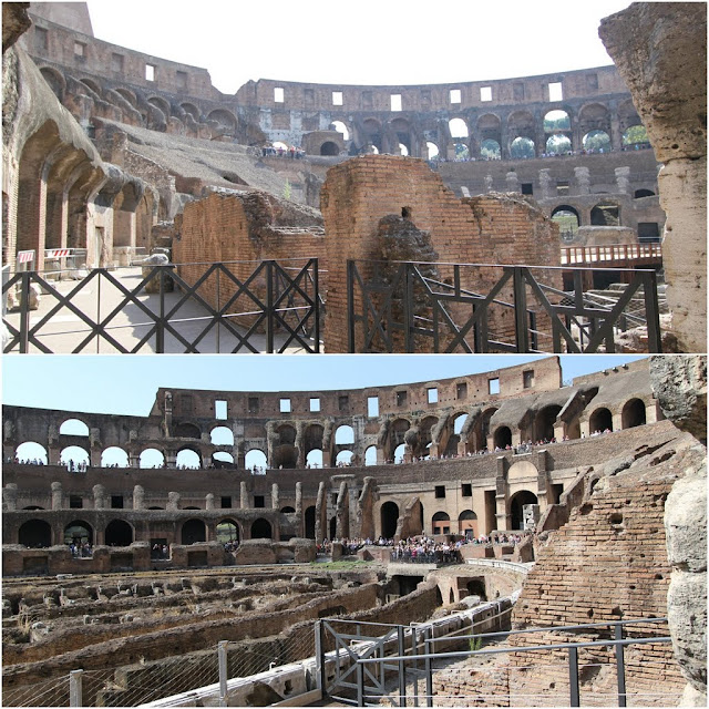 More views of the 1st level of seating for poor statues of audiences while the top tier seating was to accommodate to senators and audiences from noble class in the Roman Colosseum in Rome, Italy
