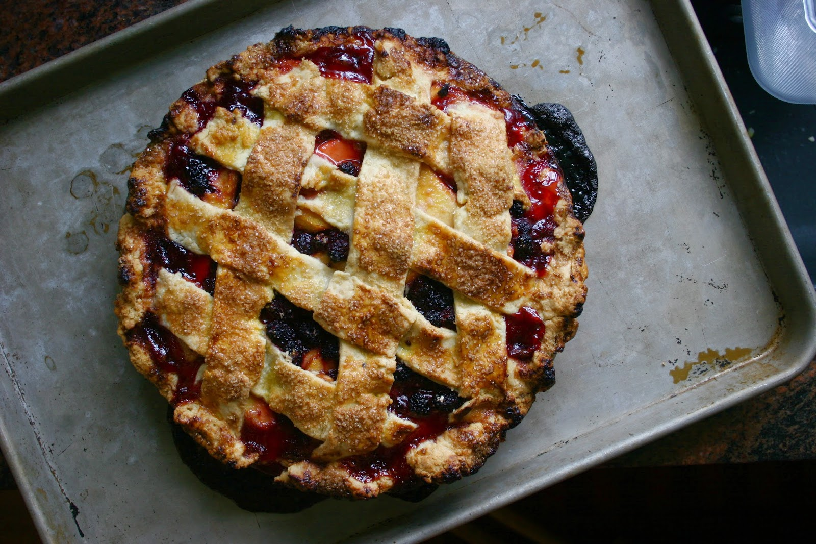 """Old Fashioned"" Peach Blackberry Pie for the Joy of Cooking"