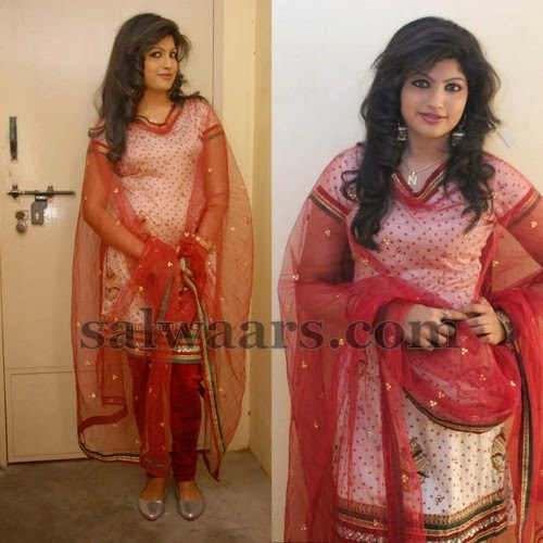 Nayana in Cream Salwar
