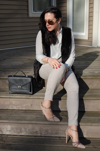 Zara pants,Joe Fresh silk blouse, Vera Wang vest,Loeffler Randall Rider bag