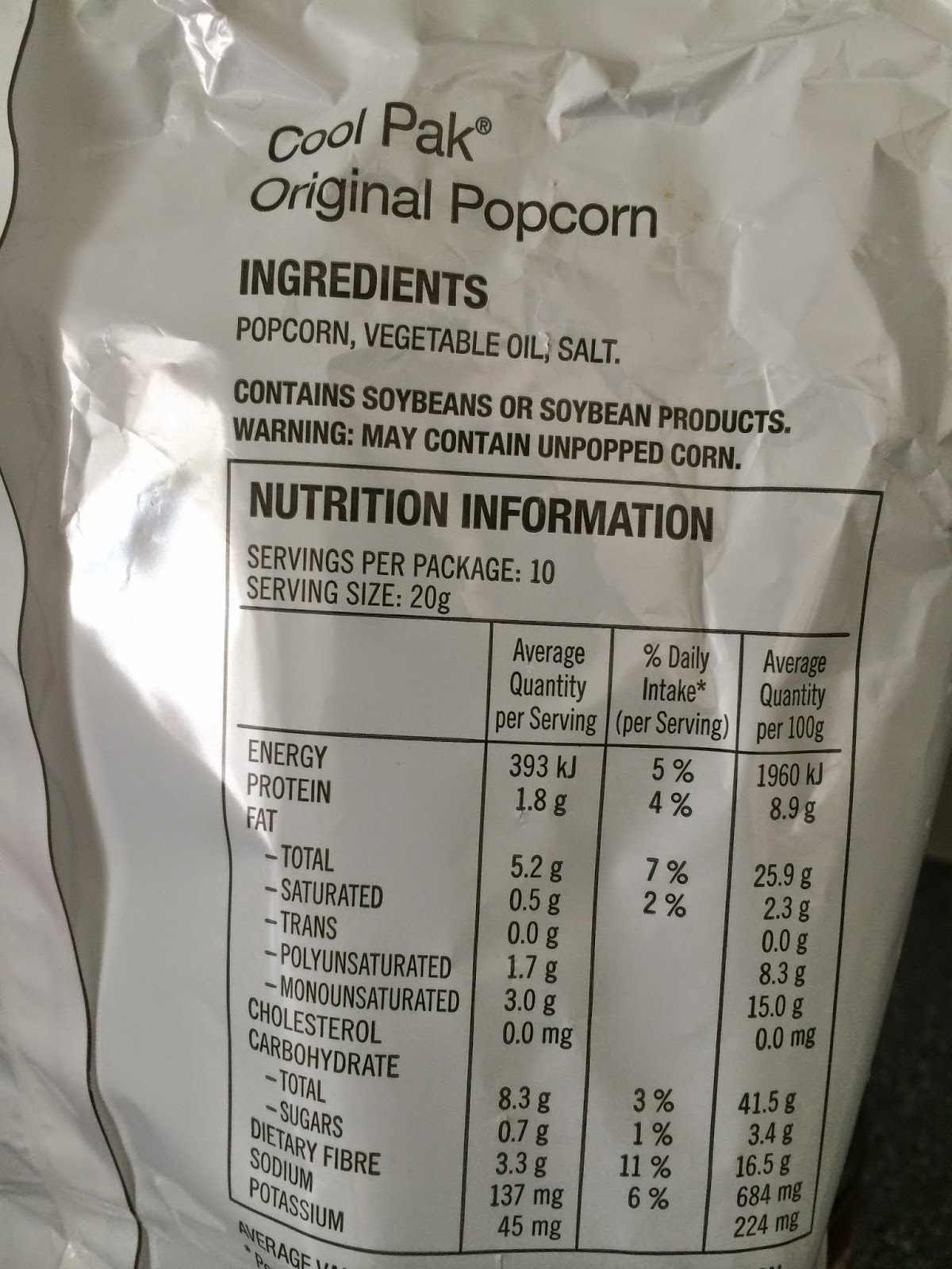 Gluten Free Vegan Food Labels Cool Pak Popcorn 10
