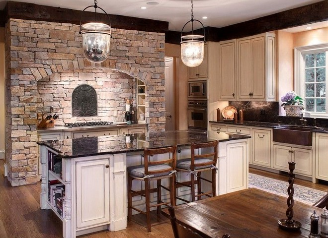 Beautiful kitchens design ideas with stone walls hag design for Kitchen designs pics