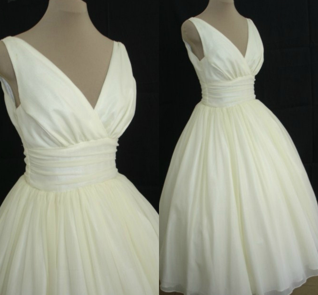 1950s Inspired Wedding Dresses : S vintage style cocktail wedding dress in ivory chiffon from