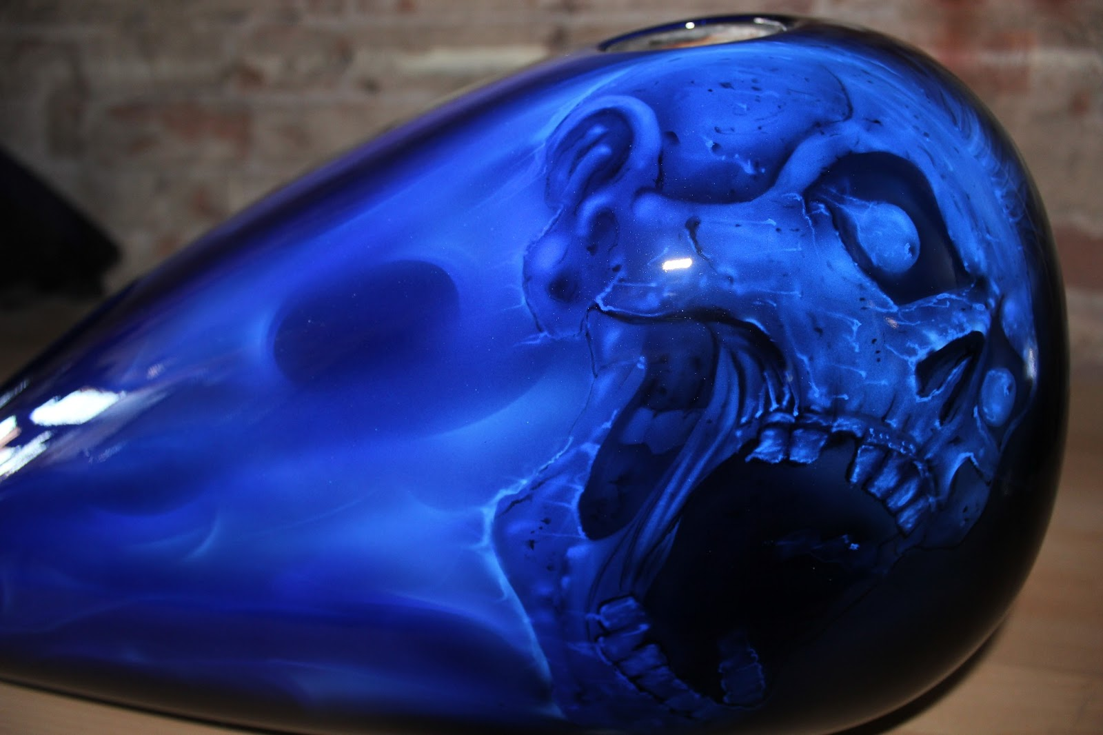 Online Motorcycle Paint Shop: Candy cobalt blue fire and skulls