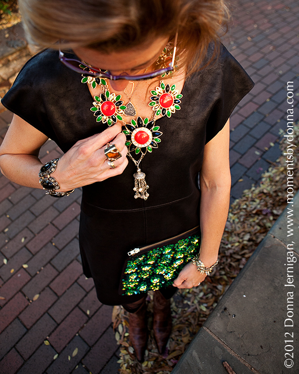 C&C California Dress, ASOS Clutch, Charles Emerson Designs Necklace, Blinde Sunglasses, Charlie 1 Horse Boots, the Queen City Style, KK Bloom Necklace, Melinda Maria Cocktail Ring, Tiffany Ring, Diamonds Direct Rings, Stella & Dot Renegade Clusters Necklace, Vintage Jewelry