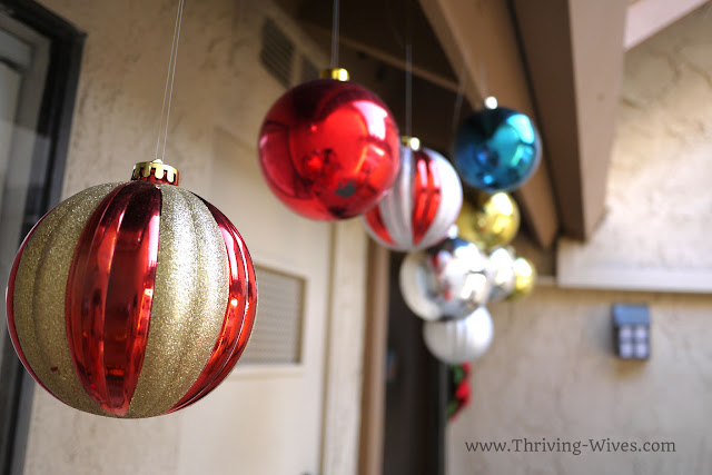 holiday decorating on a budget oversized ornaments