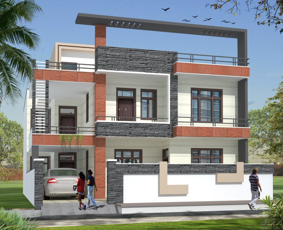 Designs of compounds of indian houses modern house for Modern house projects
