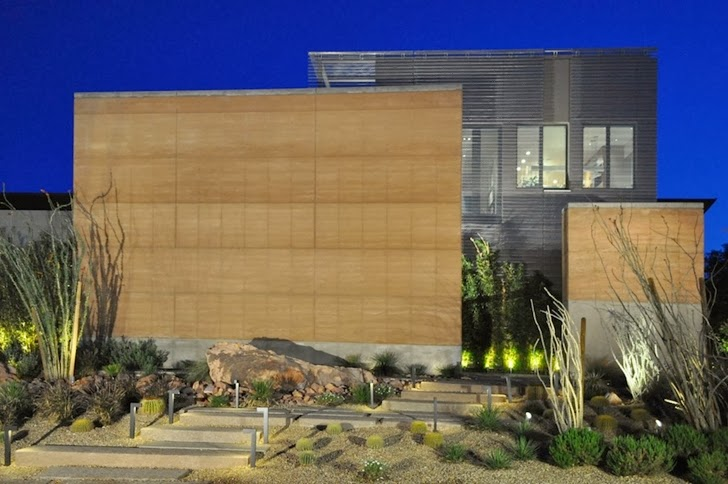 Facade of Multimillion modern dream home in Las Vegas at night