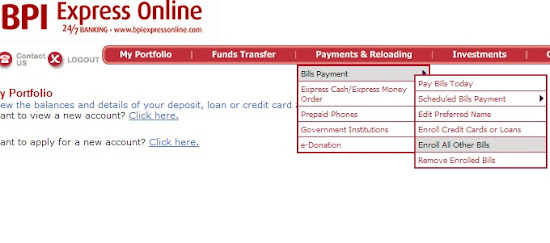Step 1 of enrolling for BPIExpressOnline Bills Payment