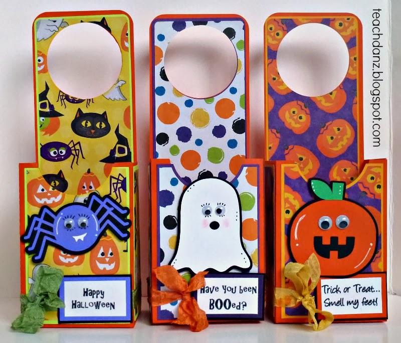 3 girl jam halloween door hanger treat boxes. Black Bedroom Furniture Sets. Home Design Ideas